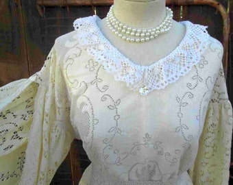 Crochet Lace Beach dress  Vintage Wedding Beach Bride vintage cream Lace Dress is at our website funkomavintage