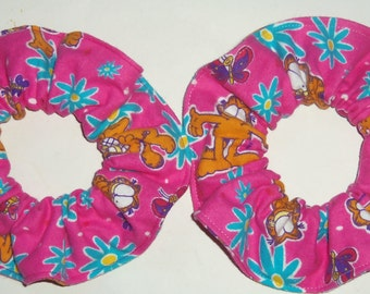 2 Garfield the Cat Hair Scrunchie PInk Flannel Fabric Scrunchies by Sherry Ponytail Holders Ties