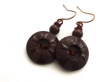 Earth Brown Vintage Button Earrings