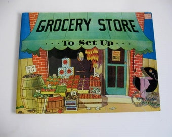 Vintage Children's Book - Grocery Store to Set Up - Cut out book - uncut