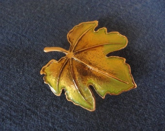Autumn Fall Leaf Pin Brooch Copper Brown Green