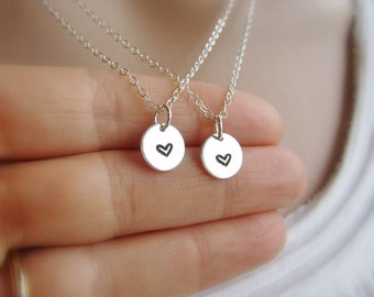 Best friends necklace set, two necklaces, tiny sterling silver heart necklace, friendship necklace, solid sterling silver jewelry