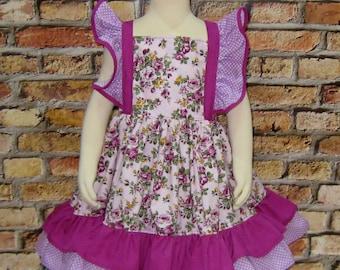 Purple Flowers Flutter Sleeve Dress, Girl Dress, Party Dress, Church Dress, Purple Dress, Little Girl Dress,Ruffle Dress, Lilac Dress