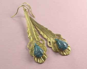 Art deco turquoise earrings vintage glass jewels southwestern Native American Indian style feather brass drop boho