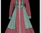 On Sale Vintage 70s Gunne Sax Calico Plaid Floral Dress XS
