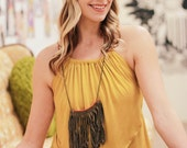 PPP Grounded MUSTARD Jersey Knit Open Back Halter Tank Top