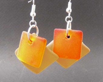 BEACH Glass SUNRISE Earrings Erg1300 Sunset colors, Collectable beach jewelry by Lynn SRA