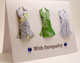 Origami Dress With Sympathy card (blue green)