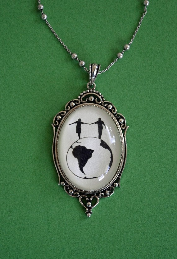 Sale 20% Off // WORLD TOUR Necklace, pendant on chain - Silhouette Jewelry // Coupon Code SALE20