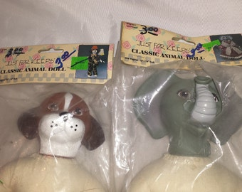 Dog and Elephant Animal Dolls for Crafting