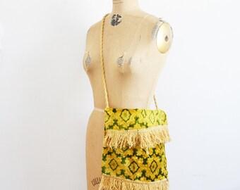 vintage 70s carpet handbag Morocco  tapestry Shoulder bag crushed velvet with fringes