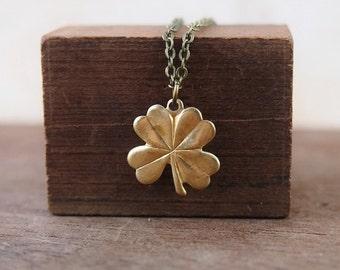 EN013 Lucky 4 leaf clover brass necklace