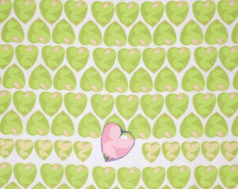 SALE fabric, Girl fabric, Nursery fabric, Tina Givens Feather Flock Fabric- Hearts in Apple- Choose your cut, Free shipping available