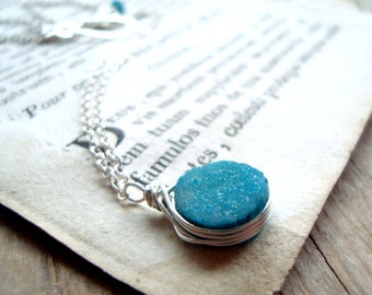 Aqua Druzy Necklace Drusy Sterling Silver Summer Fashion Bridal Jewelry Gifts Under 50 Bridesmaid Jewelry Gifts For Her Weddings Gemstone