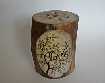 Rustic Natural Magnolia Love Vase or Centerpiece  - Perfect Addition For Your Guest Book