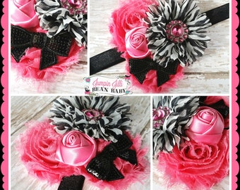 Boutique Baby Girls Zebra and Hot Pink shabby flower cluster headband