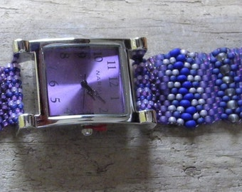Jewelry - Father Time Purple  - Free Form Peyote Stitch Beaded Watch Bracelet - Bead Weaving - DISCOUNTED