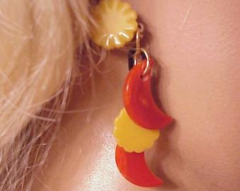 Bakelite sun and moon earrings  Jan Carlin Original