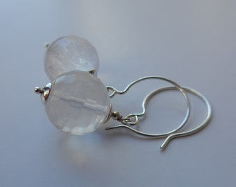 Faceted Rose Quartz Sterling Silver Earrings, Bauble, Hooks, large, pink, candy, bubble