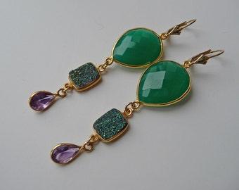 Green onyx, druzy and amethyst chandelier earrings, bezel, gold fill, leverbacks, belle epoque, vermeil, faceted, long, tiered