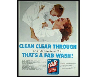 Mother and Son Fab Detergent Wall Art Laundry Room Decor