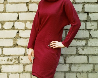 Red dress, burgundy japanese style longsleeve dress, cowl neck dress, cocoon dress, warm dress, avantgarde dress, minimalistic dress MASQ