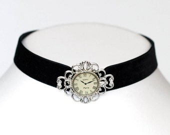 Gothic Steampunk Black Velvet Choker with Antiqued Silver Filigree and Clockwork Centerpiece by Velvet Mechanism