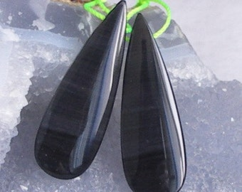 Polished Rainbow Obsidian Pear Briolette Pair