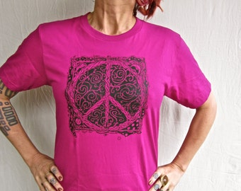 Peace Sign Tshirt Raspberry Made in USA Jersey Cotton Small, Med & XL Only