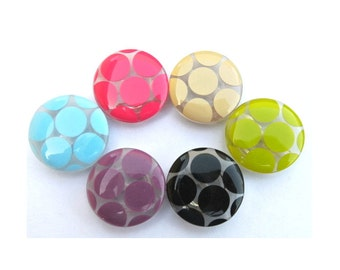 6 Plastic buttons translucent with assorted 6 colors dots 23mm