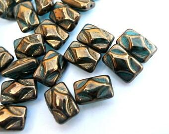 10 Czech ceramic porcelain beads NEW beautiful metalic colors 12.5mmx8mm