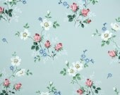 1940's Vintage Wallpaper - Pink Roses and White Flowers on Blue