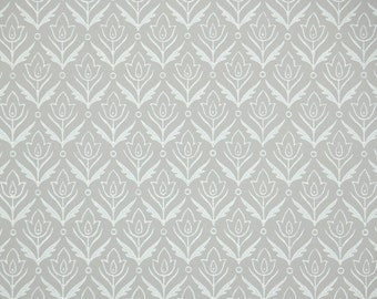 1940's Vintage Wallpaper - Gray with White Leaves