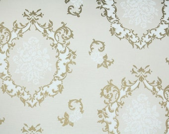 Vintage Wallpaper -1960s  Metallic Gold and White Damask