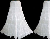 Floor Length White GYPSY PRINCESS tiered SKIRT Hippie Boho Plus Size 10 12 14 Long Maxi Medieval Gothic Larp Crinkle