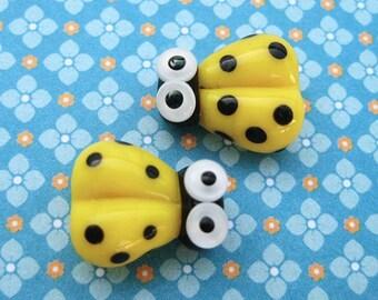 2 Glass Ladybug Beads - Lampwork Ladybug Beads - 14mm Beads - Yellow Ladybug - Yellow Ladybird - SRA Handmade Lampwork - DIY Jewelry - O