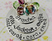 Personalized Grandma Necklace - Mothers Nana Nona Mommy Mother Jewelry -  Sterling Silver Hand Stamped
