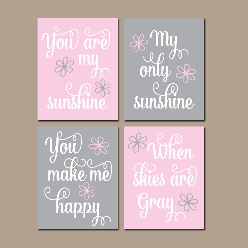 You Are My Sunshine Wall Art pink gray you are my sunshine wall art canvas or prints baby