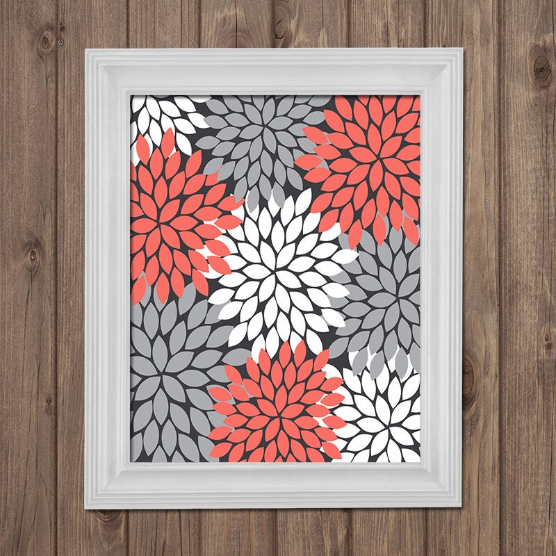 CORAL GRAY Flower Wall Art Bedroom Pictures CANVAS Or By
