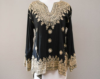 Vintage Bohemian Boho Embroidered Gold and Black Shirt Blouse Sweater Xsmall - Small