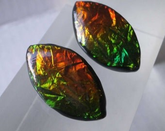 Vintage 80's Lucite Foil Earrings Leaf Design Artisan Made