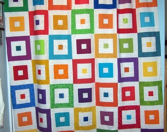 Bright squares fabric shower curtain