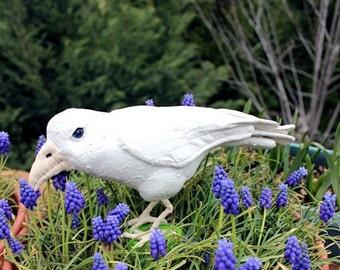 Primitive White Raven Bird Soft Sculpture Crow