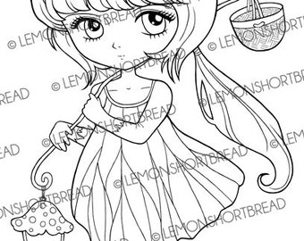 Digital Stamp Toadstool Lamp Fairy Pixie, Digi Download, Fantasy, Anime Girl, Coloring Page, Scrapbooking Supplies, Clip Art