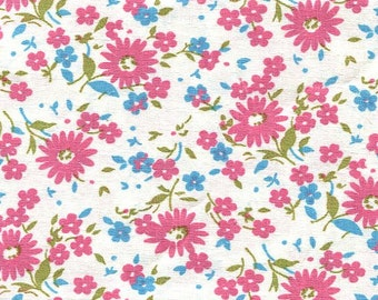Vintage 100% Cotton Fabric Pink / Turquoise Floral Print - 1 yard x 34 inch wide Quilting / Crafts - 4 yards Available