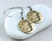 Crecent Moon Earrings   Mixed Metal Oxidized Silver Jewelry Brass Earrings Charm Jewelry Starry Night  Man In Moon Two Tone Metal