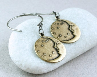 Crecent Moon Earrings   Mixed Metal Jewelry Oxidized Silver    Starry Night  Man In Moon Earrings Two Tone