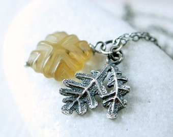 Gemstone Charm  Necklace   Oxidized Silver  Carved   Quartz  Jewelry  Gem Stone  Pendant Handmade Jewellery Gifts For Women Gemstone Jewelry