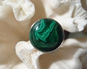 Beautiful Green Malachite Ring Size 5.75