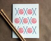 Letterpress Card - knitting love